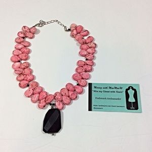 Statement Necklace-Pink w/Black Pendant-NWT